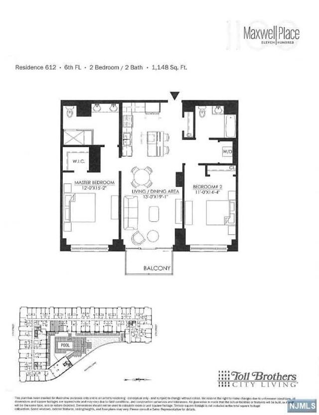 For rent at 1100 maxwell lane 612 hoboken nj for 1125 maxwell lane floor plans